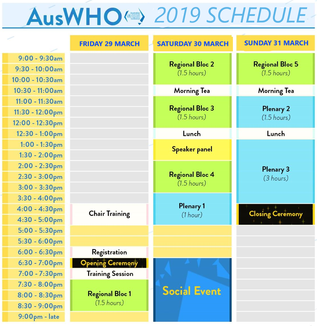 AUSWHO 2019 Conference Schedule